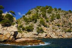 Litoral espetacular, en Feliu de Cala, Majorca do norte, Balearic Island, Espanha foto de stock royalty free