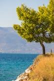 Litoral grego do mar, seascape foto de stock
