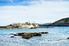 Litoral grego, vila de Agios Fokas fotografia de stock