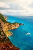 Litoral na ilha de Lefkada em Grécia Fotografia de Stock