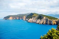 Litoral na ilha de Lefkada em Grécia Foto de Stock Royalty Free
