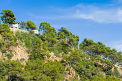 Litoral rochoso de Lloret de Mar, Espanha Fotografia de Stock