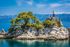 Litoral Trpanj da balsa, Croácia Imagem de Stock Royalty Free