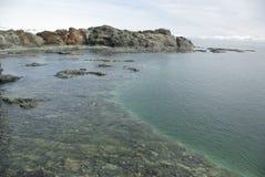 Litorale del giorno di estate antartico delle isole. Fotografia Stock