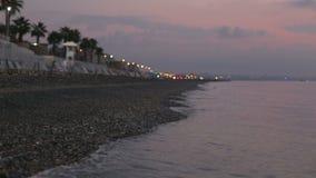 Litorale del Mar Mediterraneo al tramonto archivi video