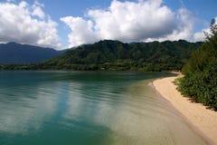 Litorale del nord Oahu della spiaggia del Hokule Fotografia Stock