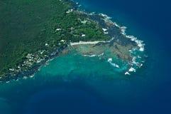 Litorale del sud di Kona, grande colpo dell'antenna dell'isola Fotografia Stock