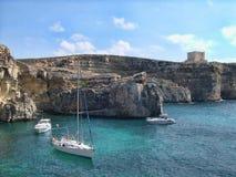 Litorale di Comino a Malta Fotografie Stock