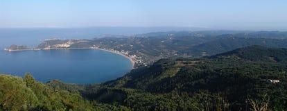 Litorale di Corfù, Grecia - panorama Immagine Stock