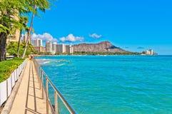 Litorale di Waikiki a Honolulu Immagine Stock