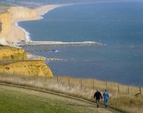 Litorale giurassico P del Dorset della bocca del eype del litorale del bridport dell'Inghilterra Dorset fotografia stock libera da diritti