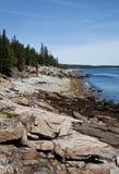 Litorale roccioso della Maine Fotografie Stock Libere da Diritti