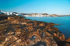 Litorale roccioso di Noussa Fotografia Stock