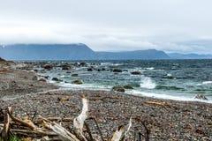 Litorali rocciosi dal bordo della strada, Gros Morne National Park, Ne fotografie stock