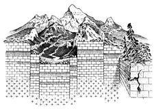 Litosfera y la estructura de la tierra Suelo y piedra caliza Fondo de la geología de la geografía Capas de placas tectónicas stock de ilustración