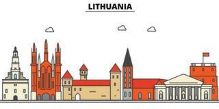 Litouwen, De architectuur van de stadshorizon Editableslagen royalty-vrije illustratie