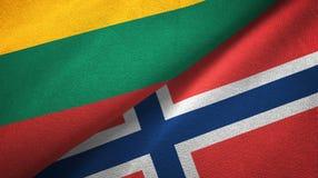 Litouwen en Noorwegen twee vlaggen textieldoek, stoffentextuur vector illustratie
