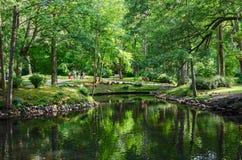 Litouwen, Palanga De mensen lopen in het Botanische park dichtbij vijver Royalty-vrije Stock Foto's