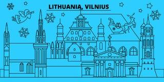 Litouwen, Vilnius-de horizon van de de wintervakantie Vrolijke Kerstmis, Gelukkige Nieuwjaar verfraaide banner met Santa Claus li vector illustratie