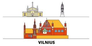 Litouwen, vlakke de oriëntatiepunten vectorillustratie van Vilnius Litouwen, Vilnius-lijnstad met beroemde reisgezichten, horizon vector illustratie