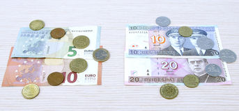 Lits changeover euro exchange 2015 lithuania coins banknotes jan. Uary Royalty Free Stock Photography