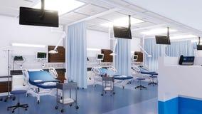 Lits d'hôpital vides dans l'animation de la chambre de secours 3D banque de vidéos
