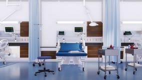 Lits d'hôpital vides dans la chambre de secours 3D intérieur illustration libre de droits