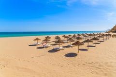 Lits pliants avec des parapluies sur la plage sablonneuse Image libre de droits