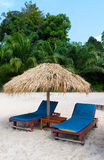 Lits pliants sous le soleil en île tropicale Image libre de droits