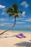 Lits pliants sur une plage des Caraïbes Photographie stock libre de droits