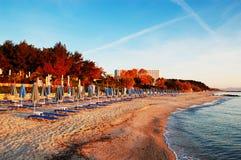 Lits pliants sur une plage pendant le lever de soleil Image stock