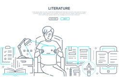 Littérature - ligne moderne bannière de Web de style de conception illustration stock