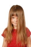 Litt Mädchen mit einem flüssigen Haar Stockfoto
