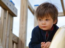 Litte boy climbing on playground Stock Photography