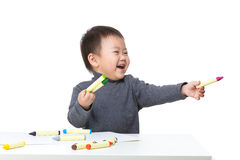 Litte Boy Excited For Drawing Stock Photography