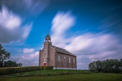 Litte church LE. Little church on a hill in Homoet, Netherlands Royalty Free Stock Photo