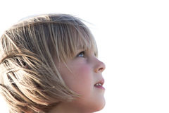Little girl with look of awe. Pretty little girl staring upwards in awe Royalty Free Stock Image