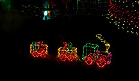 Litte Toy Train in Christmas Lights Royalty Free Stock Image