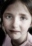 Littel Girl Crying with Tears Rolling Down Cheeks Royalty Free Stock Images