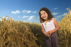 Littel girl in a wheat field Royalty Free Stock Photos
