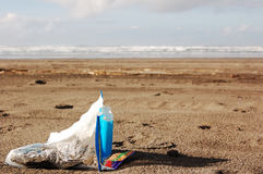 Litter on the Beach Stock Photo