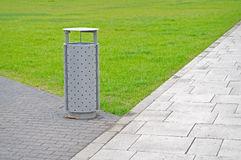 Litter bin. Public litter bin in the park stock photos