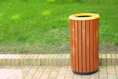 Litter bin outdoors. In park royalty free stock photo