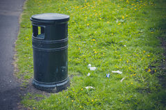 Litter bin in a park Royalty Free Stock Images