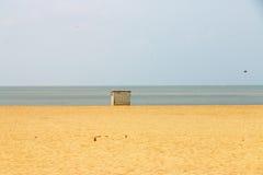 Litter bin trash can on beach mumbai india Stock Image