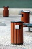 Litter bins. Three wooden litter bins in public area royalty free stock photos