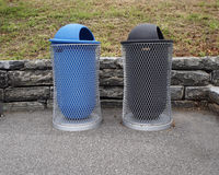 Litter bins. In the street royalty free stock photo