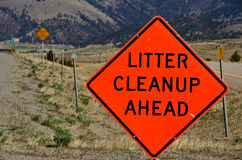 Litter Cleanup Ahead Sign Stock Image