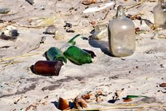 Litter and Debris on the Beach Royalty Free Stock Image