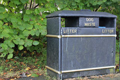 Litter and dog waste bin. Black and gold double bin for litter and dog waste Stock Image